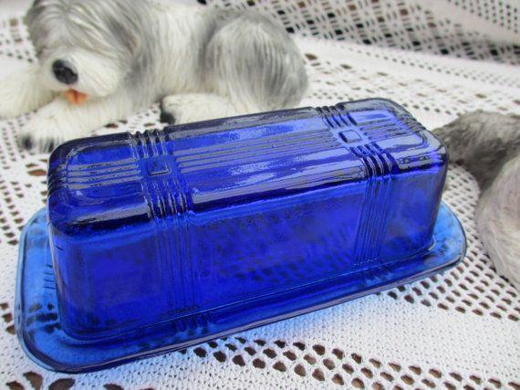 Vintage HAZEL ATLAS Cobalt Blue Criss cross Butter Dish.