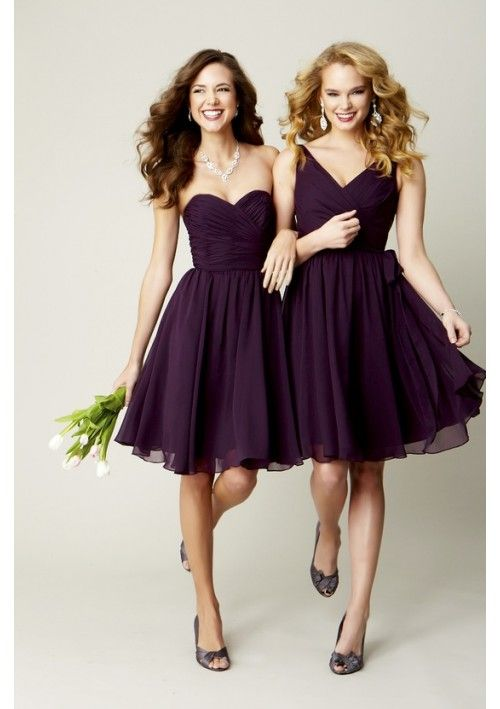 plum chiffon v-neck knee length bridesmaid dress i like the one on the left and the color.