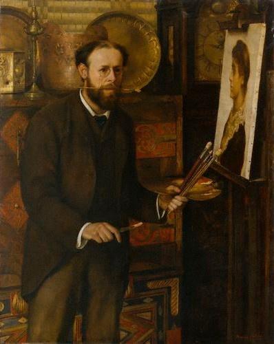 Retrato de John Maler Collier por su esposa Marion Collier