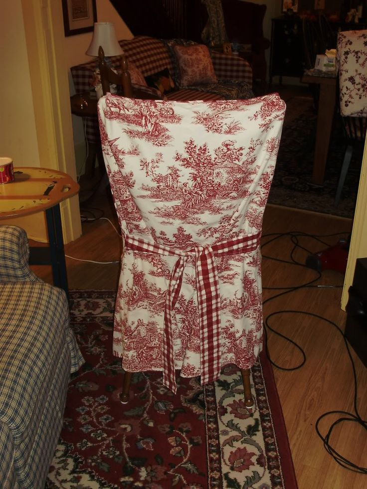 Waverly Red And White Toile Straight Back Dining Room