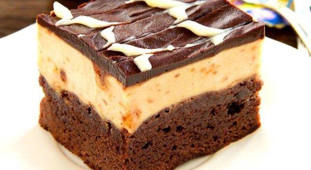 Triple Decker Chocolate & Peanut Butter Brownies