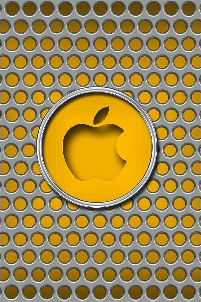Metallic   Yellow Apple Logo Wallpaper
