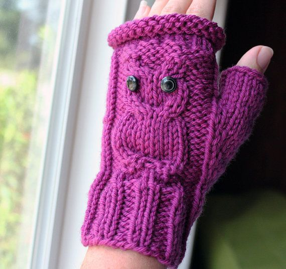 Knitting PATTERN - Cable Owl Gloves - Fingerless Gloves