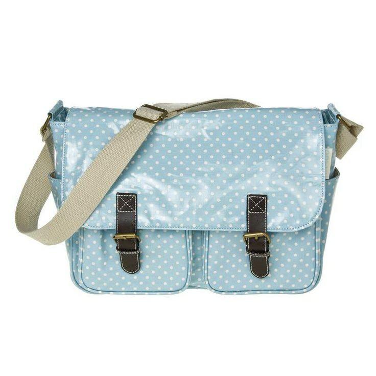 Dotty Duck Egg Blue Oilcloth Saddle Bag