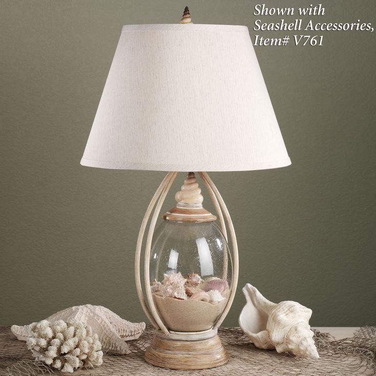 table lamp clear glass for shells sea treasures fillable glass table. Black Bedroom Furniture Sets. Home Design Ideas