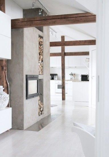 Wit, beton en prachtig oud hout! door hip