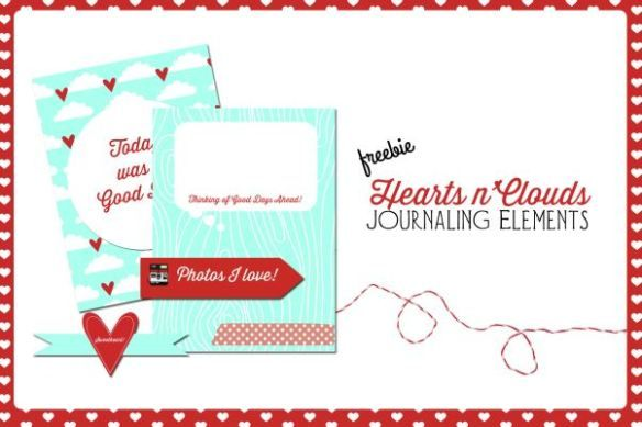 Free Printable Download    Hearts n Clouds Journaling Elements