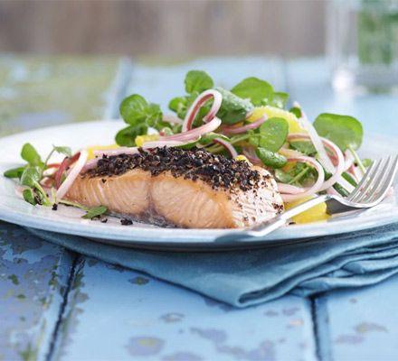 Lightly smoked salmon with orange & rhubarb salad (recipe: http://www ...