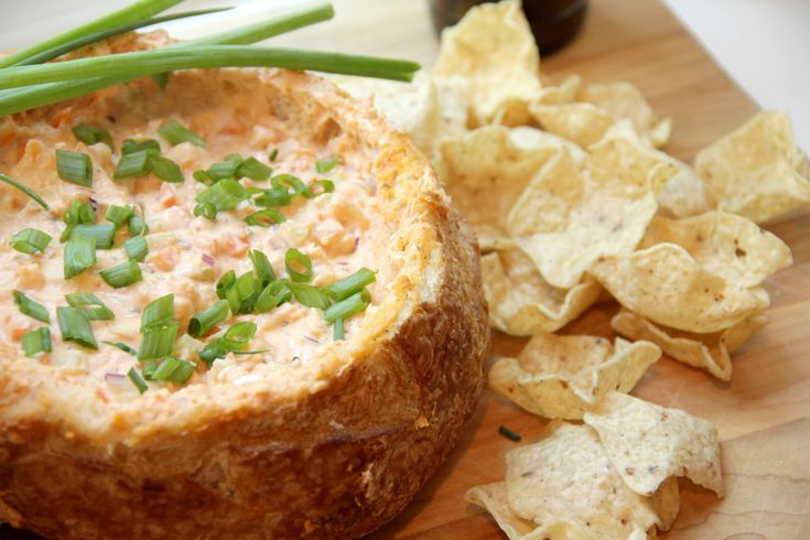 Buffalo Shrimp Bread Bowl Dip - warm spicy dip, but good cold too ...