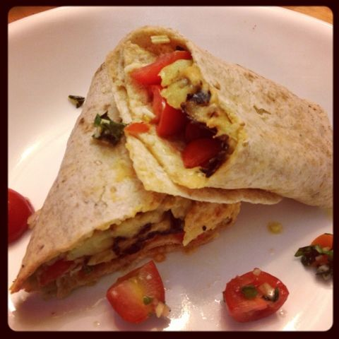 ... lunch! Grilled Eggplant & Roasted Red Pepper Hummus Whole Wheat Wrap