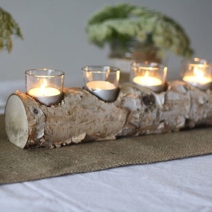 Wooden log tea light holder crafts pinterest for Log candles diy