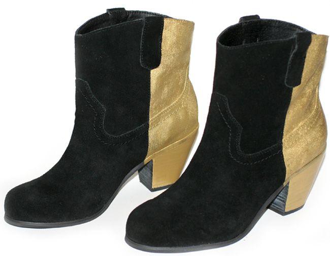 I Spy DIY: [my DIY] Gold color block booties