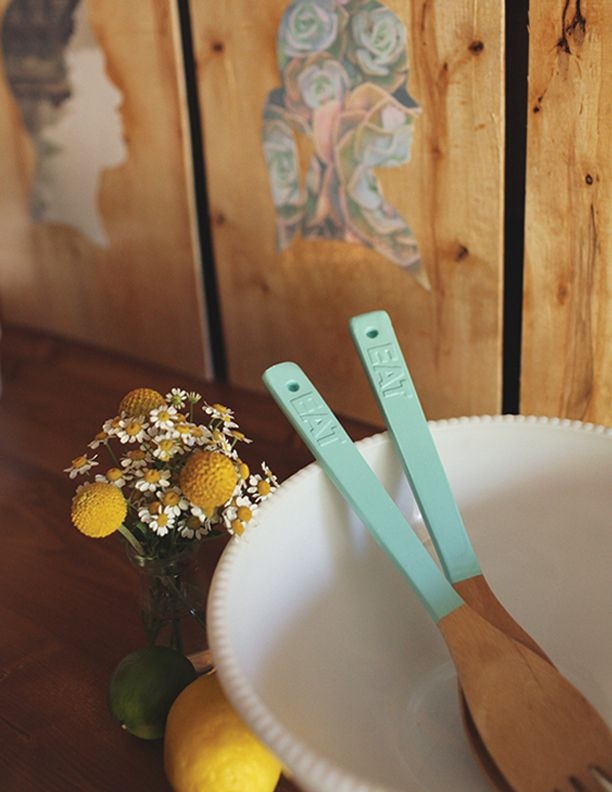 Painted spoons with lettering. Add letter decals before you dip. Find instructions in the #makeyourdaydiy downloadable book.