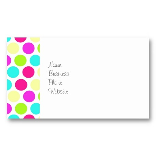 Girly colorful polka dots pattern for girls for Polka dot business card templates free