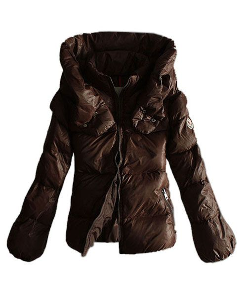 Moncler Women Winter Jackets Pure Color Coffee Double Collar 2781601