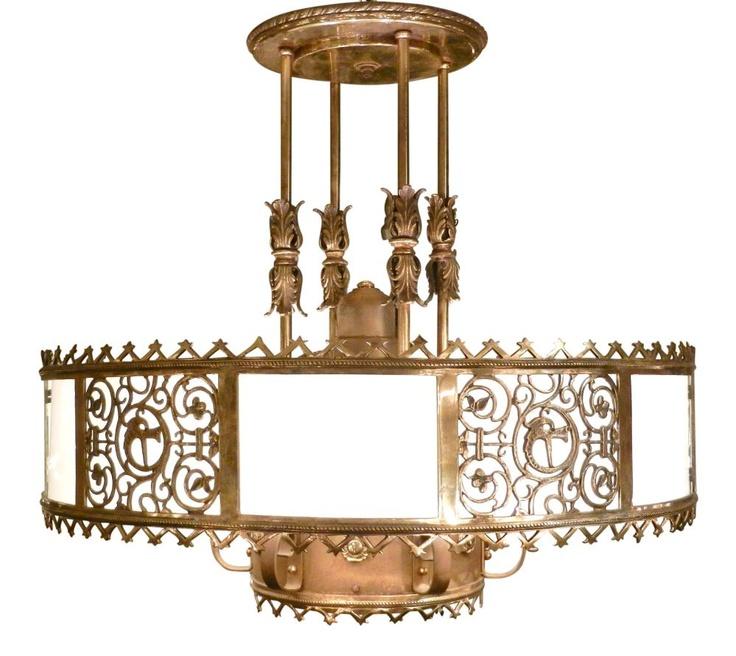 Bronze and milk glass chandelier