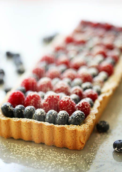 Raspberry, White Chocolate and Blueberry Tart! http://zoebakes.com ...