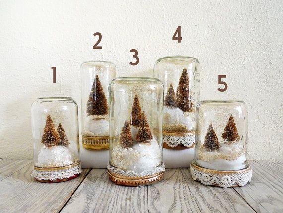 Bottle Brush Snow Globes