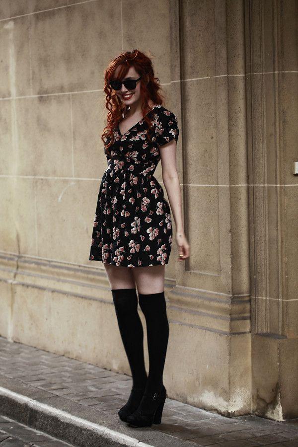 floral mini dress & thigh highs ~ 90's fashion