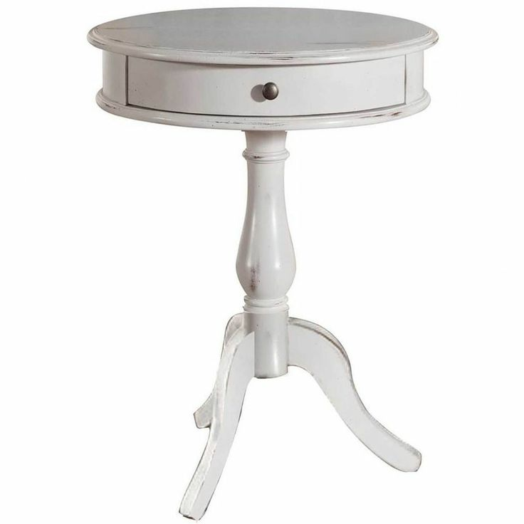 Distressed Painted End Table White Round Chic Shabby