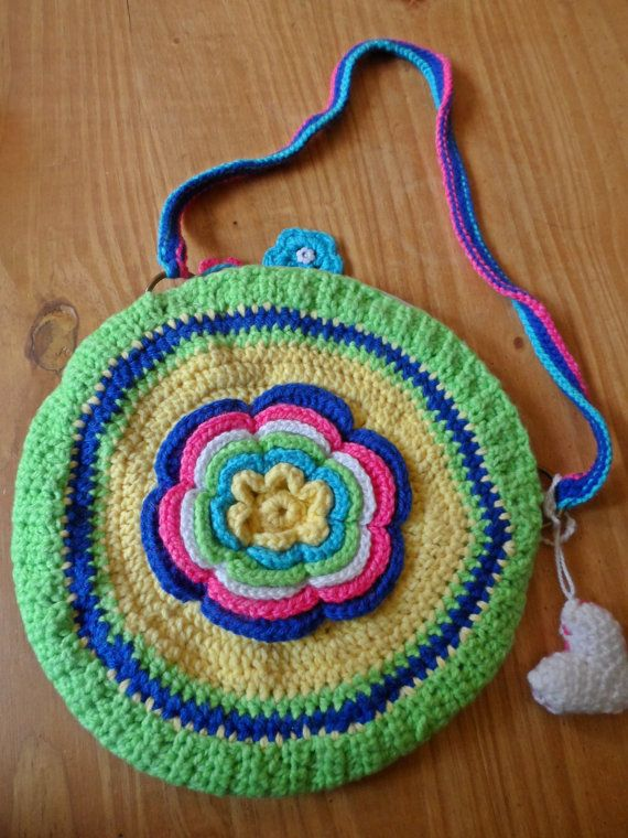 Crochet Bag For Kids : Crochet purse bag for children, bag for girls, flower handmade bag, c ...
