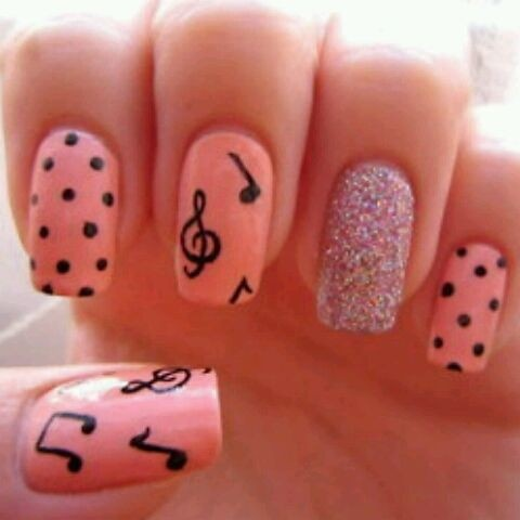 Pink and sparkle music note nails