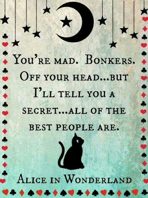 You're mad. Bonkers. Off your head.... but I'll tell you a secret...all of the best people are.