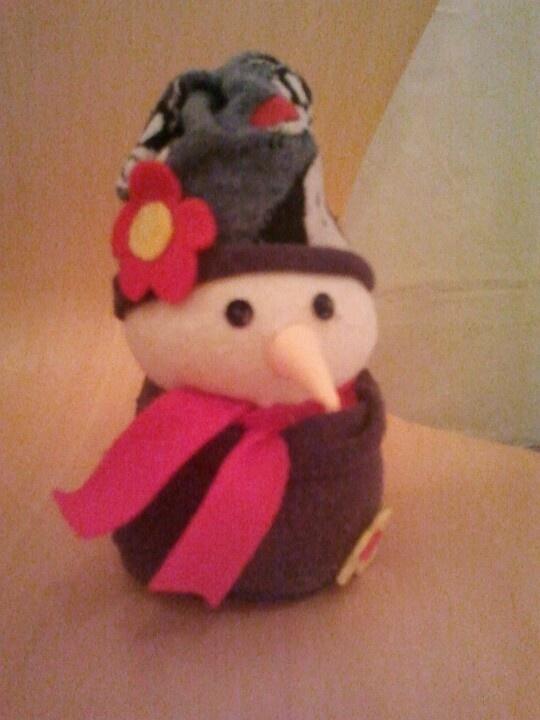 Muñeco de nieve.con calcetines y relleno de arroz