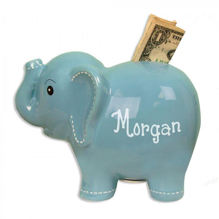 Blue elephant bank - Ceramic piggy banks for boys ...
