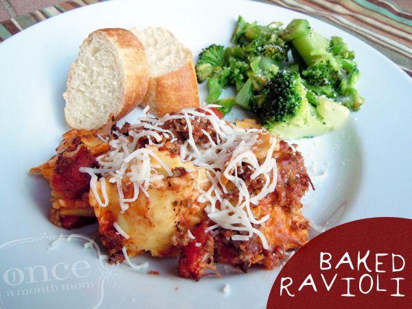 Baked Ravioli | Freezer Cooking from Onceamonthmom.com #freezermeals