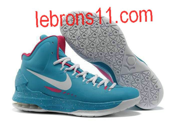 KD 5 Girls Blue White Pink Basketball Shoes for Womens