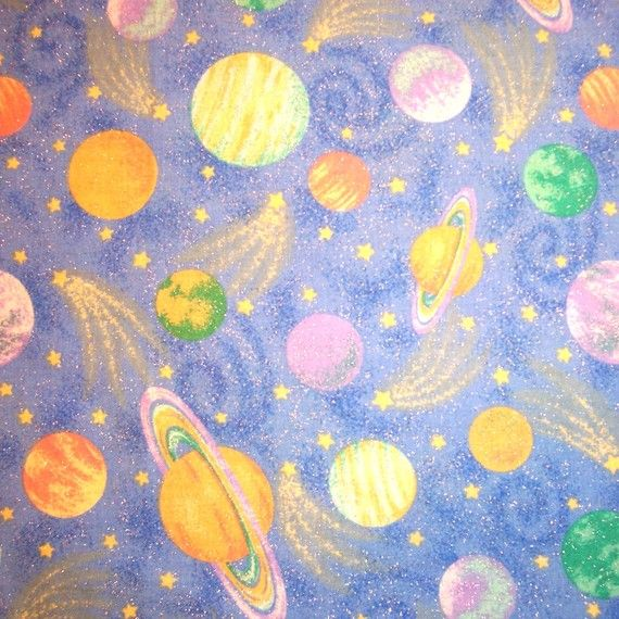Fabric colorful galaxy with planets pics about space for Planet print fabric