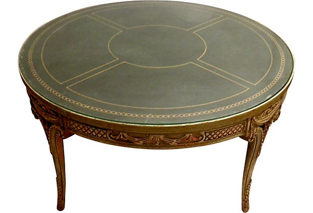 Round glass top coffee table on onekingslane com
