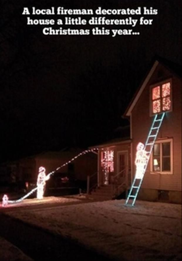 Funny Indoor Christmas Decorations : Merry christmas firefighter lights funny stuff