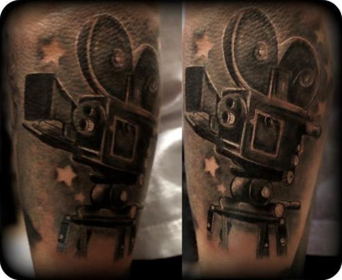 movie camera pretty cool film tattoos pinterest. Black Bedroom Furniture Sets. Home Design Ideas