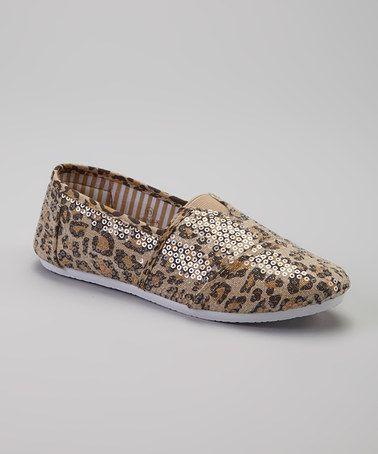 Tan Leopard Sequin Slip-On Shoe by Apple Bottoms #zulily #zulilyfinds