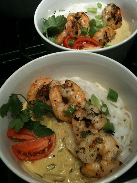 tea-smoked cilantro shrimp over rice noodles in coconut tom yum soup ...