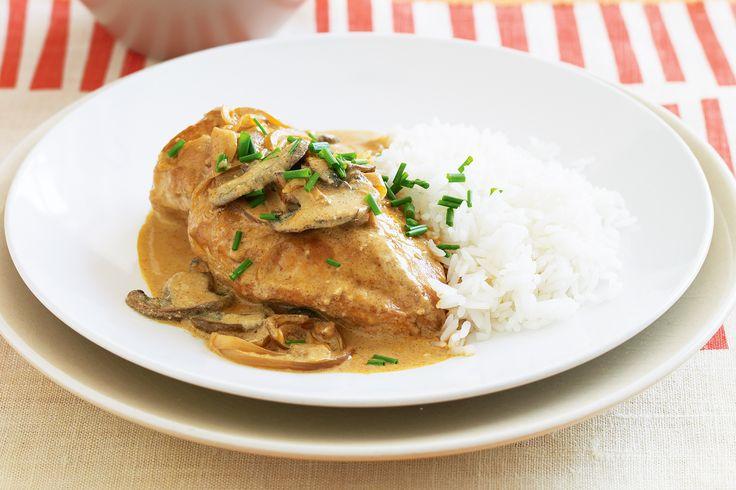 chicken stroganoff with a side of rice. Strip and stir fry chicken ...