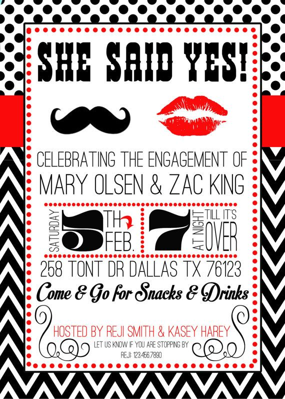 20 custom mustache and lips engagement party, birthday or shower invitations, red black and white