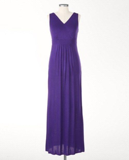 Nwt ladies imperial purple sleeveless maxi tank dress for Purple summer dresses for weddings