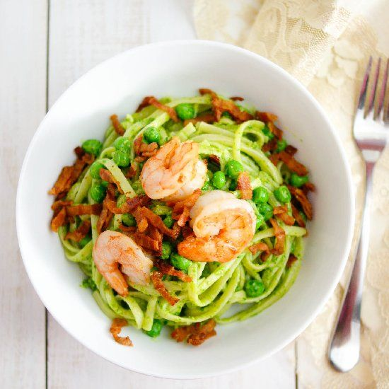 Bacon, Shrimp & Arugula Pesto Linguine. | food i like | Pinterest