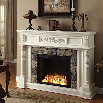 62 Grand White Electric Fireplace