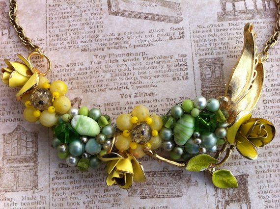 Bib Necklace Vintage Green & Yellow with Flowers by glamtiquing, $55.00