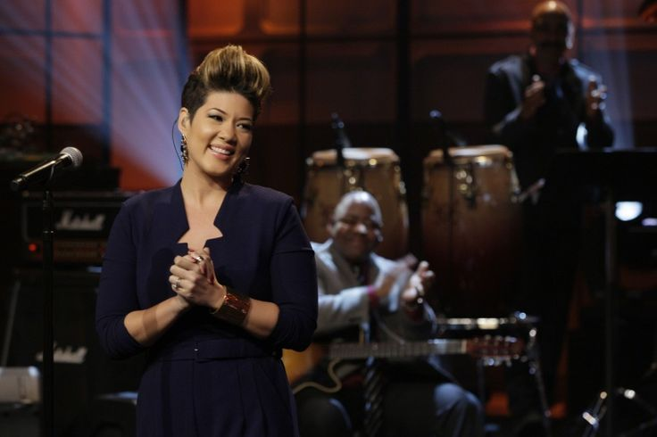 """The Voice"" season five winner Tessanne Chin has plenty to smile about during her performance on ""The Tonight Show With Jay Leno"" on Dec. 18 in Burbank, Calif."