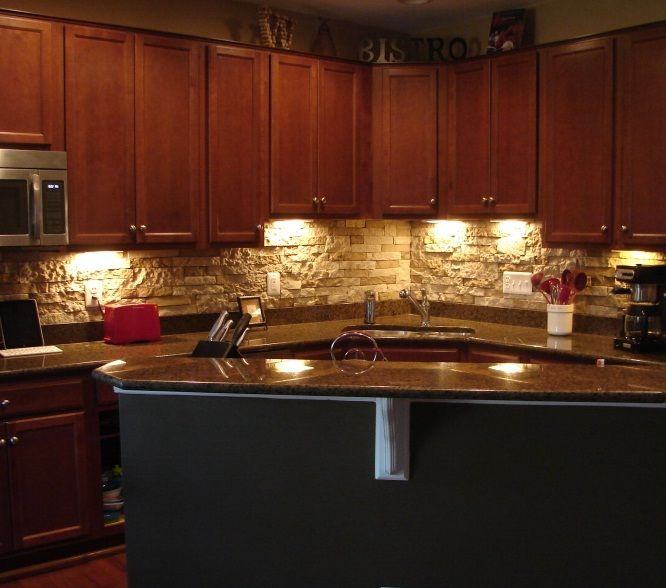Faux stone backsplash Great ideas