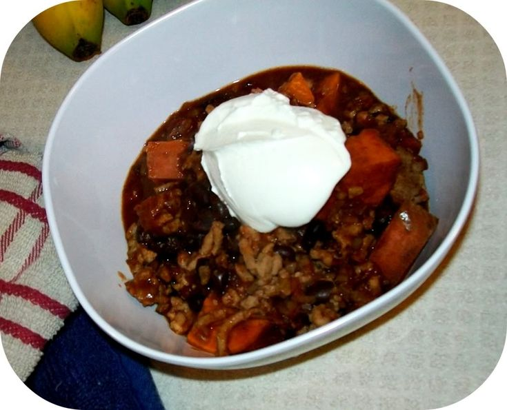 Black bean and sweet potato chili. It calls for ground turkey, but ...