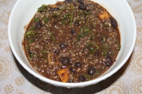 black bean and sweet potato soup! yum quinoa and kale too!