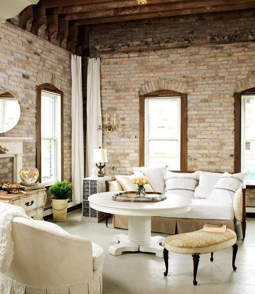 Living Room With Exposed Brick Walls Style At Home