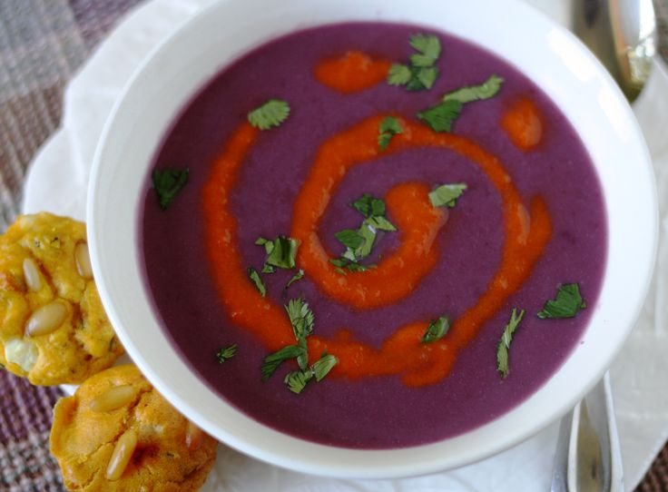 Purple cauliflower soup with a red-pepper swirl, from this week's FREE ...