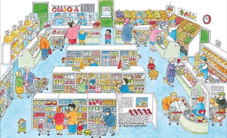 Praatplaat Bas - Supermarkt  (Getekend door Dagmar Stam)